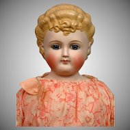 "Rare Tinted Bisque 23"" Blond Lady with Paperweight Blue Eyes"