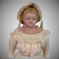 "All-Antique English Poured Wax Pierotti Lady 17"" Antique Doll"