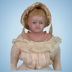 """All-Antique English Poured Wax Pierotti Lady 17"""" Antique Doll"""