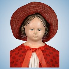 "Early 30"" Antique Glass Eyed Greiner Paper Mache Doll~Clean Condition!"