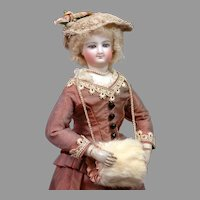"""Stunning Smiling Bru Poupee with Wooden Arms In Mint Condition~Silk Costume 12.75"""""""
