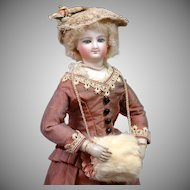 Stunning Smiling Bru Poupee with Wooden Arms In Mint Condition~Silk Costume 12.75""