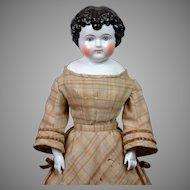 "Exemplary 25.5"" Enfantine China Child Doll All Original Plaid Wool & Velvet Dress!"