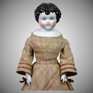 "Exemplary 25.5"" Enfantine China Child Doll All Original Plaid Wool & Velvet Dress!"