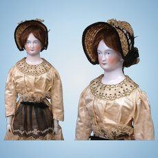"""Outstanding All Original 29"""" Early China Poupee C. 1850 By Lippert & Haas~ Formerly Exhibited At The Puppen and Spielzeug Museum of Vienna"""