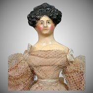 "MINT Georgian Period Milliner's Model 12.5"" Circa 1829 All Original Silk Costume Extraordinary Apollo Top Knot Hairstyle With Comb!"
