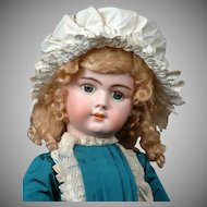 "30"" DEP Tete Jumeau SFBJ Period in Pretty Frock with Blue Sleep Eyes"