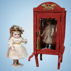 Burgundy Silk Brocade Royal Litter for Watch Display or All-Bisque Dolls c.1855-1892