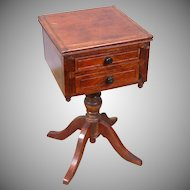 Exquisite Huret-Era Pedestal Tabletop Desk c.1865 in Polished Wood for Fashion Dolls
