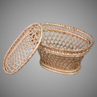 Antique Wicker Basket Fashion Doll Accessory with Lid