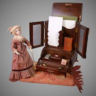 """Antique """"Mommy and Mine"""" Stationary Storage Carved Wood Furniture Desk Piece"""