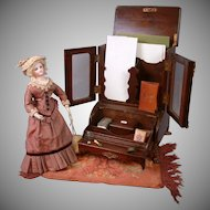 "Antique ""Mommy and Mine"" Stationary Storage Carved Wood Furniture Desk Piece. It's 15"" tall, 10"" wide, 8"" deep"
