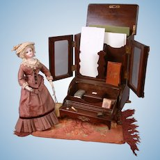 "Antique ""Mommy and Mine"" Stationary Storage Carved Wood Furniture Desk Piece"