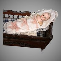"Extremely Rare Early Papier Mache Motschmann Child 6.25"" in Bunting c.1865-70"