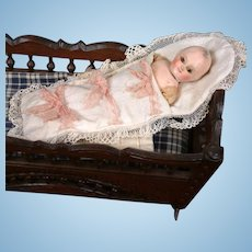 """Extremely Rare Early Papier Mache Motschmann Child 6.25"""" in Bunting c.1865-70"""