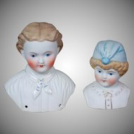 Pair of Antique Parian Boy Shoulder Heads in Mint Antique Condition