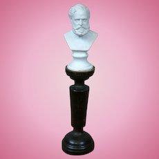 "Antique Dollhouse Parian ""Gounad"" Bust on Pedestal c.1860"