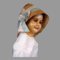 Outstanding Early Poke Bonnet in Excellent Condition c.1845 with Original Silk Ribbon Ties
