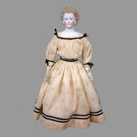 """Antique Parian Lady c.1865 21"""" with Desirable Blond Braided Updo"""