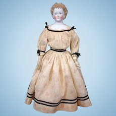 "Antique Parian Lady c.1865 21"" with Desirable Blond Braided Updo"