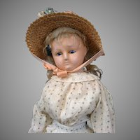RARE Socket Head Wax Over Paper Mache Lady in Original Antique Costume c.1865