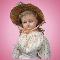 RARE Socket Head Wax Over Paper Mache Lady in Original Antique Costume c.1865