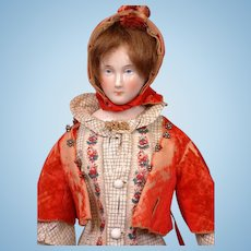 """Exemplary 16"""" China Lady by Lippert & Haas of Schlaggenwald with Outstanding Trousseau C. 1865"""