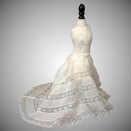 Exquisite Antique Near-Mint Half Slip with Train for Fashion Poupee or China Ladies