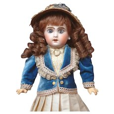 """14"""" Jumeau 1907 Size 4 Bebe with Original Blue Paperweight Eyes--Adorable"""