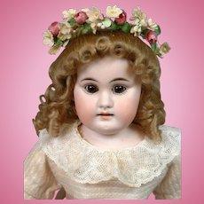 "Kestner Antique Bisque Girl 15"" in Beautiful Flower Wreath on Kidskin Body"