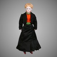 "Parian Young Lady Doll 17"" with Painted Cloth Stockings and Antique Silk Ensemble"