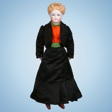 """Parian Young Lady Doll 17"""" with Painted Cloth Stockings and Antique Silk Ensemble"""