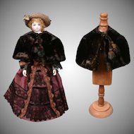 Exquisite Black Velvet Capelet with Plum Silk Lining c.1885 for Antique Lady Dolls