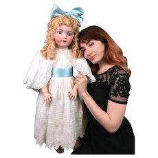 """Impressive 36"""" Simon & Halbig 1249 """"Santa"""" Antique Doll in Antique whitewear--Gorgeous!"""