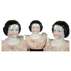 "Lovely Antique China Lady 18.5"" in Cute Polka Dot Costume"