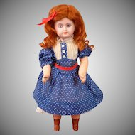 "Petite 9.5"" Antique French UNIS Bisque Child Doll with Molded Blue Eyes"