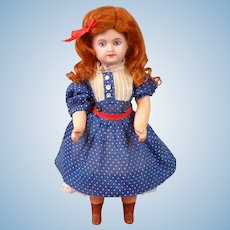 """Petite 9.5"""" Antique French UNIS Bisque Child Doll with Molded Blue Eyes"""