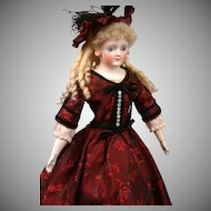 "19"" Gebruder Kuhnlenz Closed-mouth Antique doll   circa 1890 in Stunning Crimson Brocade"