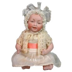 Delightful All-Bisque Kestner Character Baby Antique Doll 9""