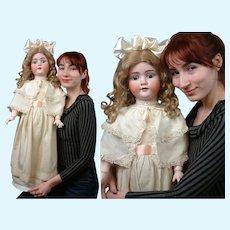 "Wonderful large 31""  Kley & Hahn Walkure  Antique Doll circa 1900 in Silk Brocade Ensemble"