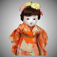 """Darling 9"""" Ichimatsu Japanese Doll with Rare Bisque Head & ~Functioning Squeaker~!"""