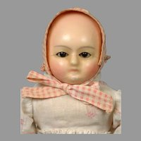 "RARE Motschmann Wax Over Paper Mache Doll 13"" with Rare Sleep Eyes Mechanism"