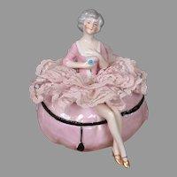Antique China Half-Doll Powder Puff in Rococo Fashion for Vanity