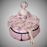 Antique China Half-Doll Powder Puff in Rococo Fashion for Vanity
