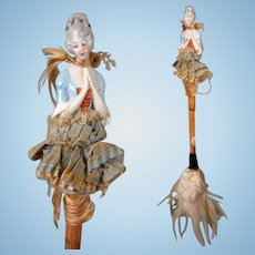 Rare China Lady Half Doll Feather Duster -- Decorative Antique Piece!