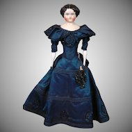 *Royal* Antique China Lady in Antique Blue Gown with Beadwork & Antique Underthings