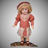 """Kestner 143 13"""" on Beautiful Body in Bebe-Style Dress -- Cabinet Ready!"""