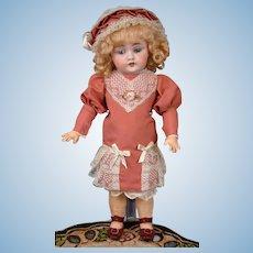 """13"""" Kestner 143 on Beautiful Body in Bebe-Style Dress -- Cabinet Ready!"""
