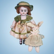 """All-Bisque Antique Girl Doll 6.5"""" in Original Wig with Bunny"""