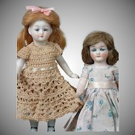 "Pair of All-Bisque Petite German Dolls in Cute Costume 5"" and 5.5"""